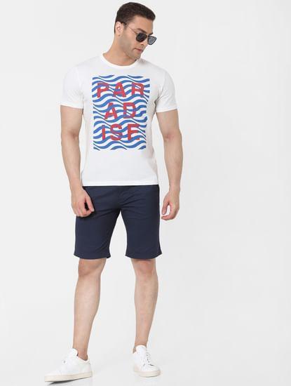 White Graphic Print Organic Cotton Crew Neck T-shirt