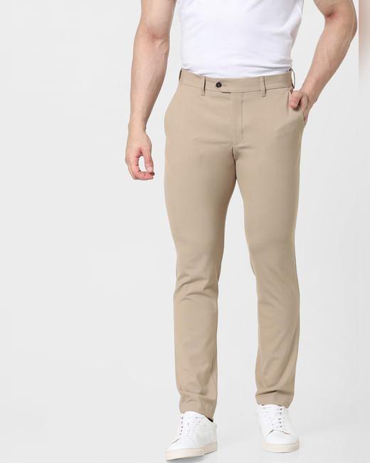 Beige Mid Rise Slim Fit Pants
