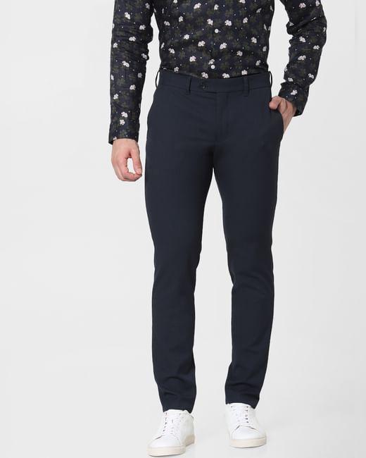Blue Mid Rise Slim Fit Pants