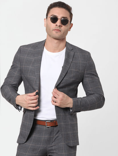 Grey Check Slim Fit Blazer