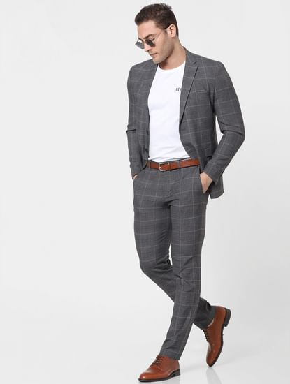 Grey Mid Rise Check Trousers