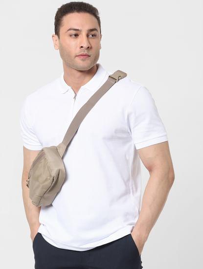 White Zip Polo T-shirt