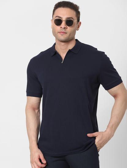 Navy Blue Zip Polo T-shirt