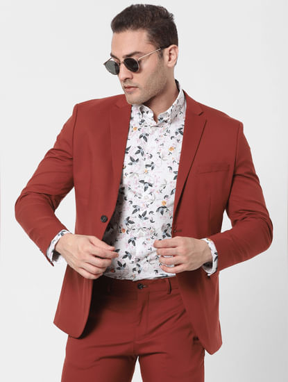 Burnt Red Slim Fit Blazer