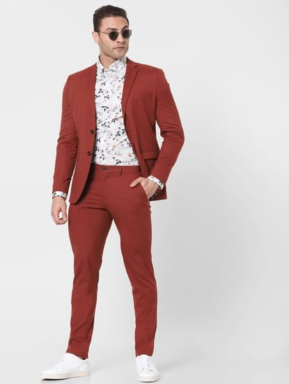 Burnt Red Mid Rise Slim Fit Trousers