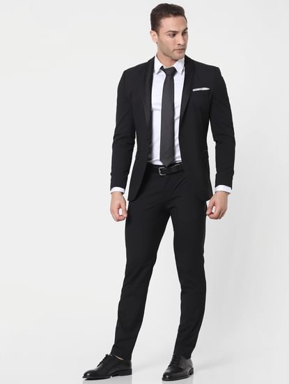 Black Mid Rise Slim Fit Trousers