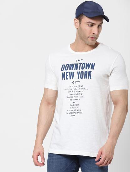 Cream Text Print Organic Cotton Crew Neck T-shirt