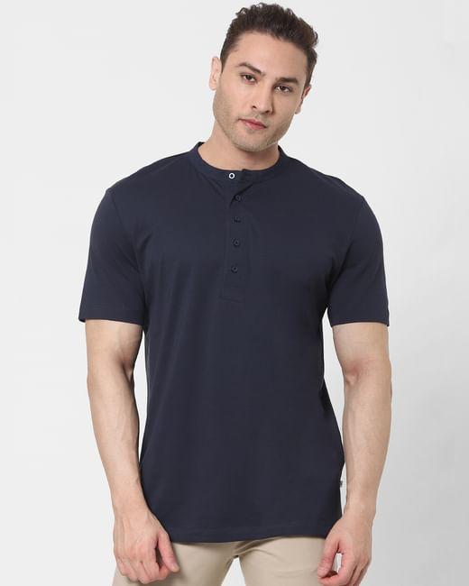 Navy Blue Organic Cotton Polo Neck T-shirt