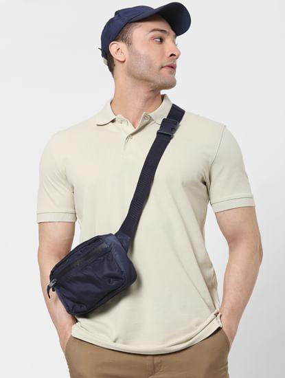 Beige Organic Cotton Polo Neck T-shirt