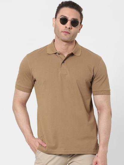 Brown Organic Cotton Polo Neck T-shirt