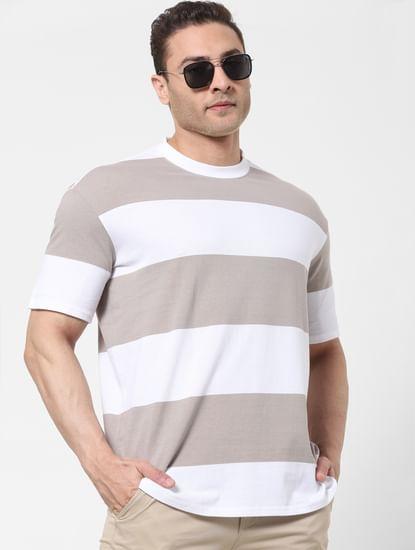 Grey Striped Organic Cotton Crew Neck T-shirt