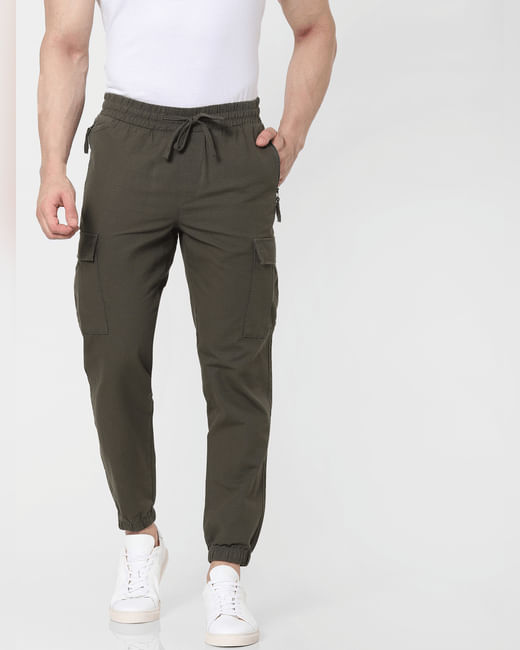 Olive Green Mid Rise Tapered Fit Pants