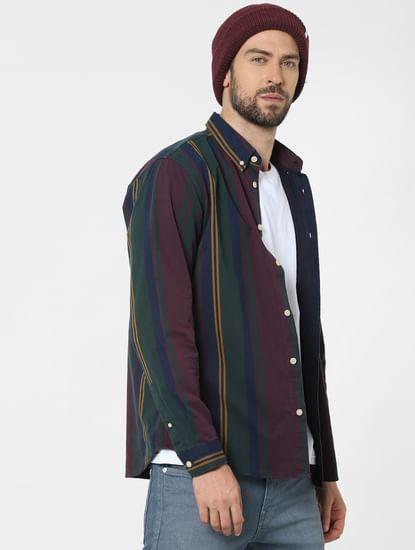 Maroon Striped Full Sleeves Shirt