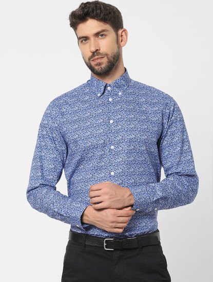 Blue Printed Organic Cotton Full Sleeves Shirt