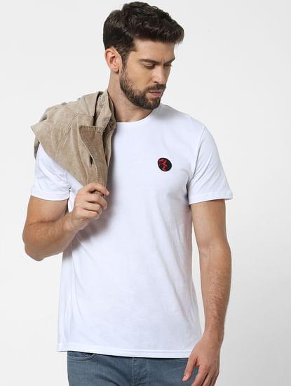 White Placement Print Crew Neck T-shirt