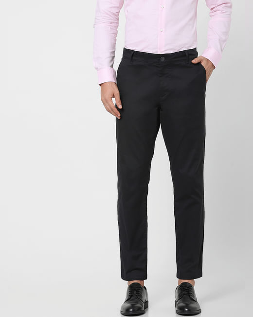 Black Organic Cotton Slim Fit Chinos
