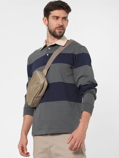 Grey Striped Polo Neck T-shirt