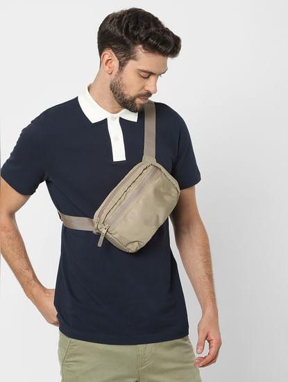 Blue Organic Cotton Polo Neck T-shirt