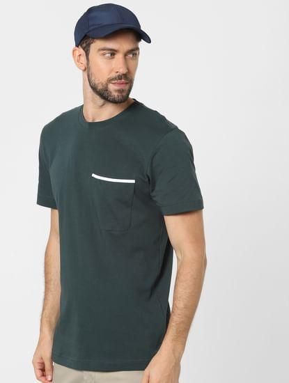 Green Organic Cotton Crew Neck T-shirt