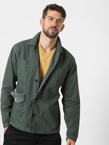 Green Full Sleeves Overshirt