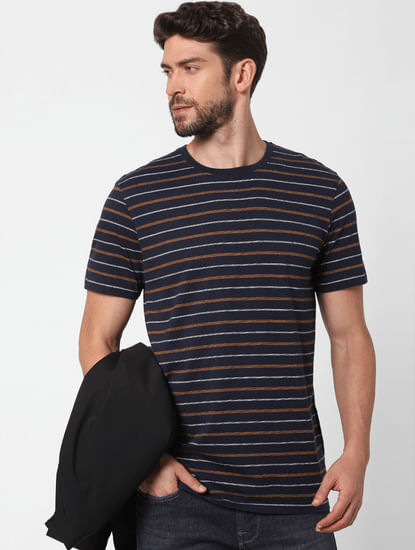 Blue Striped Organic Cotton Crew Neck T-shirt