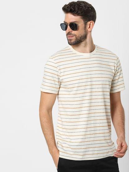 Off White Striped Organic Cotton Crew Neck T-shirt