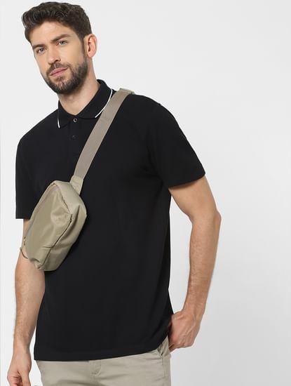 Black Organic Cotton Polo Neck T-shirt