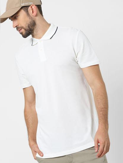 White Organic Cotton Polo Neck T-shirt