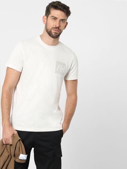 Off-White Organic Cotton Crew Neck T-shirt