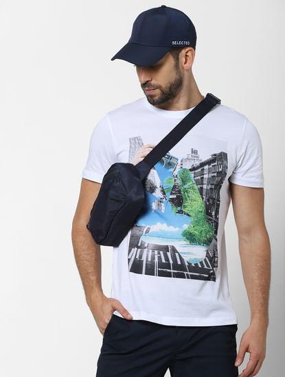 White Organic Cotton Graphic Crew Neck T-shirt