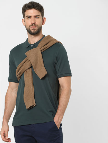 Green Organic Cotton Polo Neck T-shirt