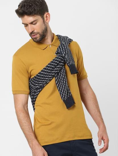 Mustard Organic Cotton Polo Neck T-shirt