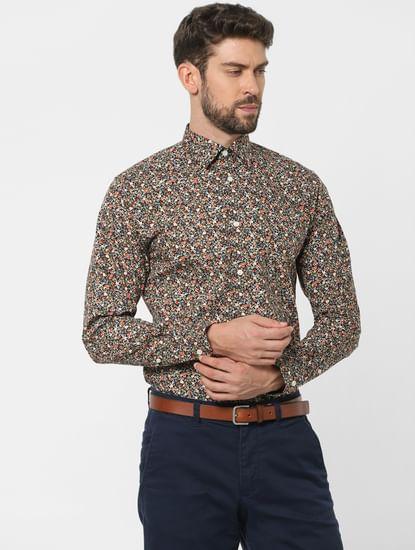 Black Floral Organic Cotton Full Sleeves Shirt