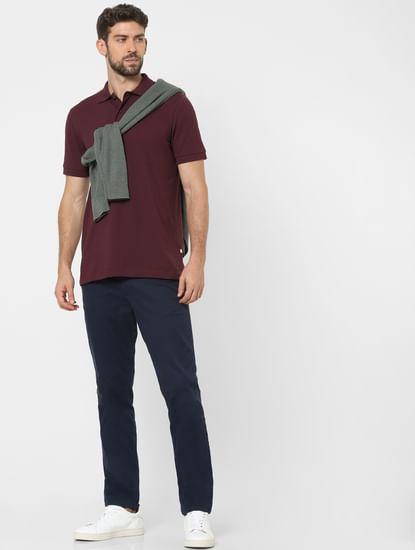 Maroon Organic Cotton Polo Neck T-shirt