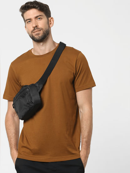 Brown Organic Cotton Crew Neck T-shirt