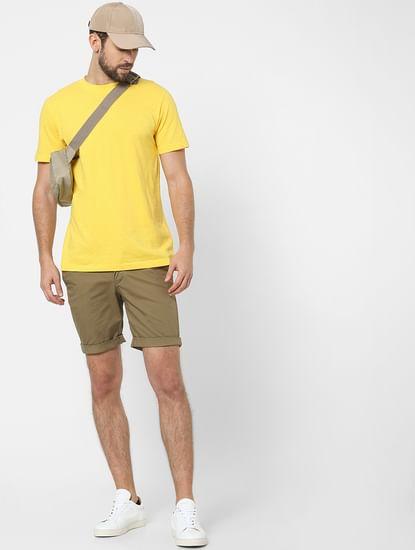 Yellow Organic Cotton Crew Neck T-shirt