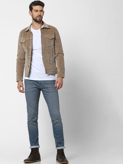 Blue Mid Rise Organic Cotton Slim Fit Jeans