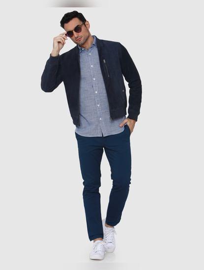 Blue Textured Full Sleeves Shirt