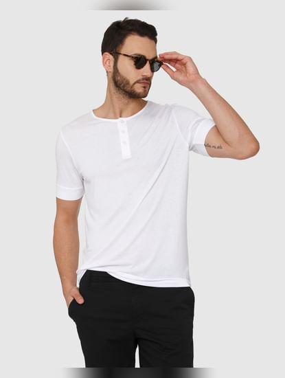 White Henley Neck T-Shirt