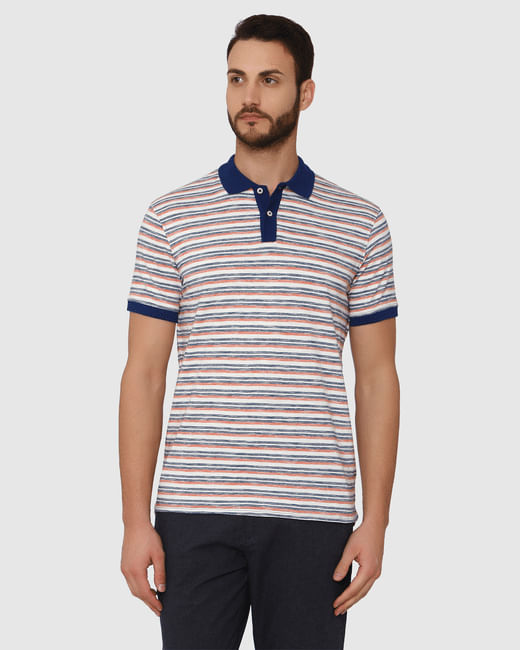 White Striped Contrast Tipping Polo Neck T-Shirt