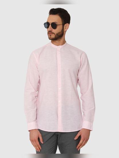 Pink Faded Regular Fit Full Sleeves Shirt