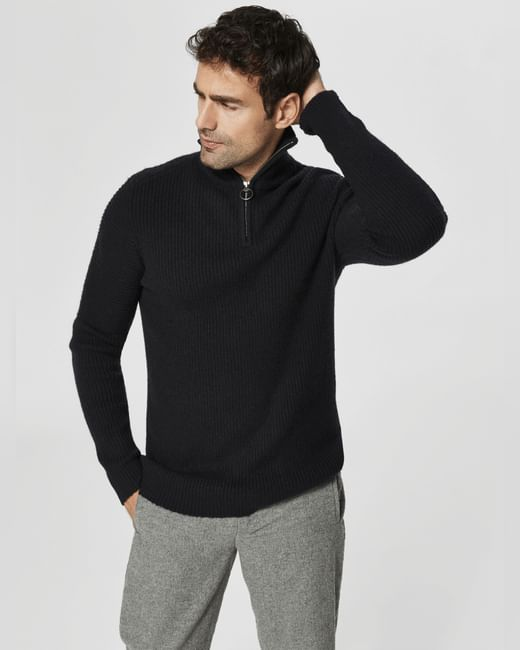 Black High Neck Ribbed Pullover