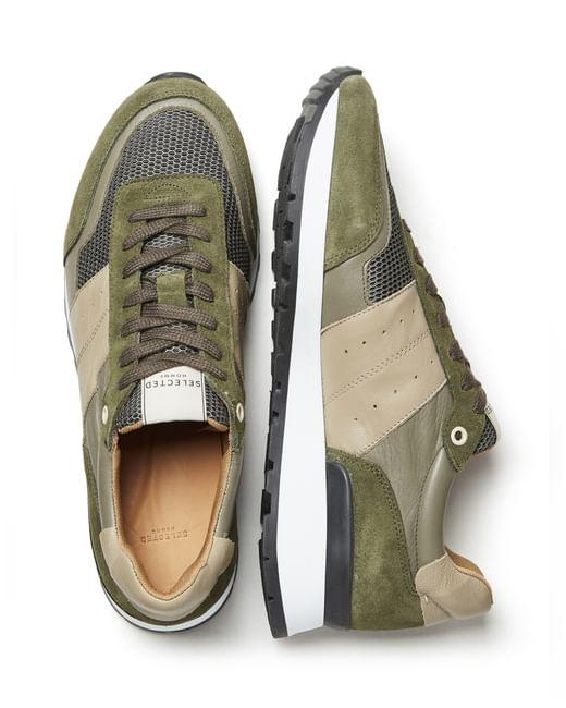 Green Colourblocked Sneakers