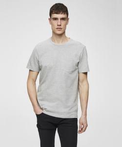 Grey Front Chest Pocket Crew Neck T-Shirt