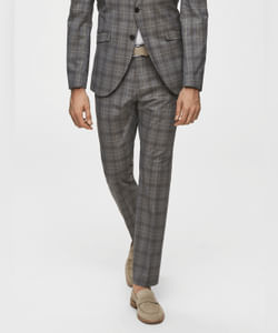Grey Check Slim Fit Formal Trousers