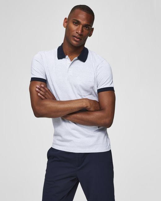 White Self Design Contrast Collar Polo T-Shirt