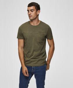 Olive Green Pocket Slim Fit Crew Neck T-Shirt