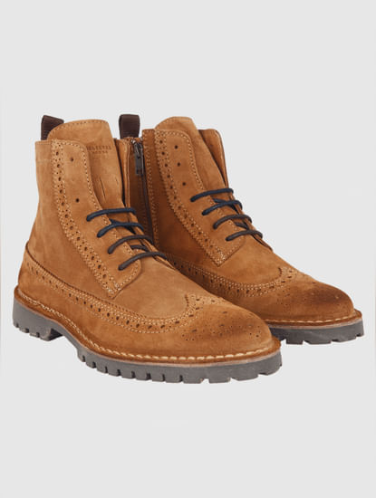 Brown Brogue Suede Boots