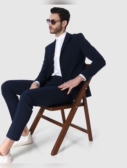 Navy Blue Striped Slim Fit Blazer