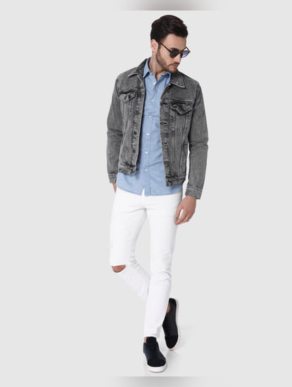 White Knee Ripped Leon Slim Fit Jeans